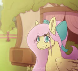 Size: 1119x1022 | Tagged: safe, artist:zezhirdeliora, fluttershy, pegasus, pony, bow, bust, cute, eye clipping through hair, female, fluttershy's cottage, hair bow, looking at you, mare, outdoors, portrait, shyabetes, smiling, solo, stray strand, three quarter view, wings