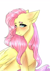 Size: 2893x4092 | Tagged: safe, artist:dreamykid, fluttershy, pegasus, pony, blushing, bust, chest fluff, eye clipping through hair, female, floppy ears, folded wings, head turn, high res, looking at you, mare, portrait, simple background, solo, three quarter view, white background, wings