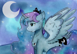 Size: 4893x3460 | Tagged: safe, alternate version, artist:lightisanasshole, princess luna, alicorn, pony, cheek fluff, chest fluff, crown, curved horn, cutie mark, ear fluff, ethereal mane, female, horn, jewelry, lidded eyes, mare, melancholy, necklace, night, poster, profile, regalia, solo, spread wings, starry mane, stars, tail feathers, tiara, traditional art, wing fluff, wings