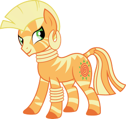 Size: 1920x1810 | Tagged: safe, edit, vector edit, applejack, zecora, zebra, ponyar fusion, bracelet, colored hooves, ear piercing, earring, female, fusion, jewelry, mare, neck rings, palette swap, piercing, recolor, simple background, smiling, solo, transparent background, vector