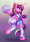 Size: 1438x1997 | Tagged: safe, artist:shadowreindeer, artist:xbi, princess cadance, alicorn, pony, bipedal, cheek fluff, cheerleader outfit, clothes, collaboration, cute, cutedance, ear fluff, female, hoof hold, leg warmers, pom pom, simple background, solo
