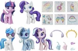 Size: 2040x1354   Tagged: safe, dj pon-3, rarity, starlight glimmer, trixie, twilight sparkle, vinyl scratch, alicorn, my little pony: pony life, simple background, toy, twilight sparkle (alicorn), white background