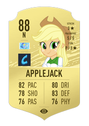 Size: 620x874 | Tagged: safe, applejack, equestria girls, fifa ultimate team, football, fut draft, simple background, solo, sports, transparent background