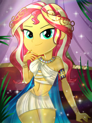 Size: 1800x2400 | Tagged: safe, artist:artmlpk, sunset shimmer, equestria girls, adorable face, adorasexy, adorkable, alternate hairstyle, armband, bare shoulders, beautiful, chair, crown, curtains, cute, digital art, dork, egypt, egyptian, female, goddess, jewelry, lidded eyes, looking at you, necklace, palm tree, regalia, sexy, shimmerbetes, sitting, smiling, smiling at you, solo, tree, watermark