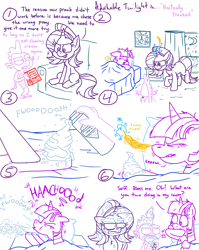 Size: 4779x6013 | Tagged: safe, artist:adorkabletwilightandfriends, spike, starlight glimmer, twilight sparkle, alicorn, comic:adorkable twilight and friends, adorkable, adorkable twilight, backfire, backfired, bed, bedroom, book, comic, confused, cute, dork, epic fail, fail, feather, fission mailed, foam, friendship, hooves, humor, joke, nostril flare, nostrils, pillow, practical joke, prank, prank fail, shaving cream, sitting, sleeping, sneezing, tickling, twilight sparkle (alicorn), unhappy