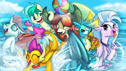 Size: 3840x2160 | Tagged: safe, artist:sintakhra, gallus, ocellus, sandbar, silverstream, smolder, yona, changedling, changeling, classical hippogriff, dragon, griffon, hippogriff, pony, yak, tumblr:studentsix, balloon, bandana, beach ball, claw hold, cute, diaocelles, diastreamies, eyes closed, fangs, gallabetes, open mouth, post-it, raised claw, sandabetes, smolderbetes, splashing, student six, tongue out, water, water balloon, yonadorable
