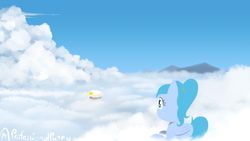 Size: 3840x2160 | Tagged: safe, artist:professionalpuppy, oc, oc only, pegasus, airship, cloud, laying on cloud, on a cloud, sitting, sitting on cloud, solo