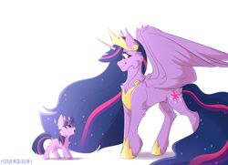 Size: 2000x1445 | Tagged: safe, artist:verystrangebun, twilight sparkle, alicorn, unicorn, the last problem, amazed, chest fluff, crying, dock, duality, end of g4, end of ponies, female, filly, filly twilight sparkle, jewelry, looking at each other, princess twilight 2.0, regalia, self ponidox, signature, simple background, smiling, tears of joy, teary eyes, time paradox, twilight sparkle (alicorn), twolight, unicorn twilight, white background, younger