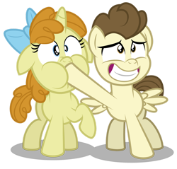 Size: 1280x1226 | Tagged: safe, artist:aleximusprime, pound cake, pumpkin cake, pegasus, unicorn, flurry heart's story, bow, cake twins, colt, female, filly, floppy ears, grin, hair bow, hoof in mouth, male, nervous, nervous grin, older, older pound cake, older pumpkin cake, raised hoof, siblings, simple background, smiling, transparent background, twins