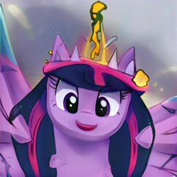 Size: 1024x1024   Tagged: safe, artist:thisponydoesnotexist, oc, oc only, alicorn, pony, alicorn oc, artificial intelligence, faic, female, horn, mare, multicolored hair, neural network, not salmon, not twilight sparkle, open mouth, solo, wat, wings