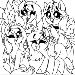 Size: 719x721 | Tagged: safe, artist:madkadd, oc, oc only, deer, deer pony, earth pony, original species, pegasus, pony, antlers, bow, choker, cloven hooves, earth pony oc, flying, grin, group, hair bow, lineart, monochrome, one eye closed, open mouth, pegasus oc, raised hoof, sitting, smiling, wings, wink