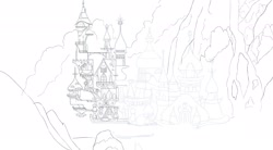 Size: 2048x1130   Tagged: safe, artist:chocodamai, canterlot, castle, wip