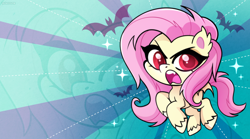 Size: 1450x805 | Tagged: safe, artist:techycutie, fluttershy, bat pony, my little pony: pony life, bat ponified, fanart, flutterbat, race swap, wallpaper, zoom layer