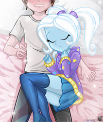 Size: 661x781 | Tagged: safe, artist:charliexe, trixie, oc, oc:generic messy hair anime anon, human, equestria girls, alternate hairstyle, babysitter trixie, bed, bedroom, blushing, clothes, eyes closed, faceless male, female, hoodie, lucky bastard, male, offscreen character, schrödinger's pantsu, story included
