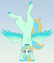 Size: 3340x3873 | Tagged: safe, artist:tuzz-arts, oc, oc only, oc:cool ginger, pegasus, pony, chest fluff, choker, colored hooves, colored wings, femboy, handstand, lipstick, male, multicolored hair, multicolored wings, nonbinary, simple background, solo, trap, upside down, wings