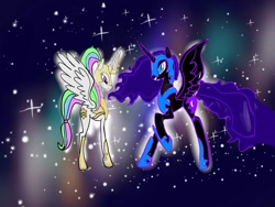 Size: 1080x810 | Tagged: safe, artist:bellas.den, nightmare moon, princess celestia, alicorn, pony, duo, female, helmet, hoof shoes, mare, peytral, raised hoof, siblings, sisters, stars