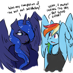Size: 2500x2500 | Tagged: dead source, safe, artist:rainbowsprinklesart, part of a set, princess luna, rainbow dash, alicorn, anthro, pegasus, armpits, blue eyes, blue fur, blue wings, breasts, cleavage, clothes, converse, dialogue, horn, looking at each other, magenta eyes, multicolored hair, multicolored mane, one eye covered, open mouth, pink eyes, rainbow hair, simple background, small breasts, spread wings, talking, tanktop, teeth, tongue out, white background, wing massage, wings