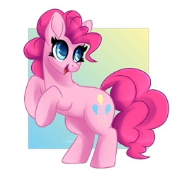 Size: 2000x2000 | Tagged: safe, artist:lavenderheartsmlp, pinkie pie, earth pony, pony, female, high res, mare, rearing, simple background, smiling, solo, transparent background