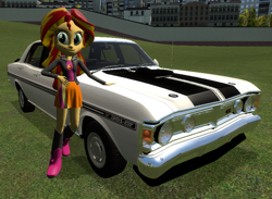 Size: 804x588 | Tagged: safe, artist:didgereethebrony, sunset shimmer, equestria girls, 3d, ford, ford falcon, ford falcon xy gtho phase iii, gmod, solo