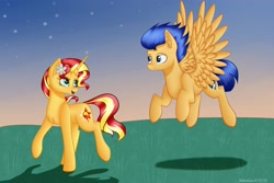 Size: 3000x2000 | Tagged: safe, artist:brilliant-luna, flash sentry, sunset shimmer, pegasus, pony, unicorn, chest fluff, cute, ear fluff, female, flashimmer, flower, flower in hair, flying, male, open mouth, request, shipping, straight, walking