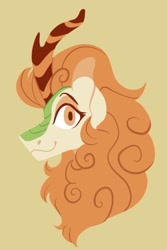 Size: 879x1313 | Tagged: safe, artist:rockin_candies, autumn blaze, kirin, bust, female, horn, profile, simple background, smiling, solo
