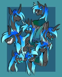 Size: 1132x1395 | Tagged: safe, artist:rockin_candies, oc, oc only, hybrid, changeling hybrid, fangs, forked tongue, grin, horn, simple background, sketch, smiling, solo, spread wings, sweat, sweatdrop, teeth, tongue out, wings