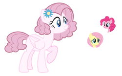Size: 1024x637 | Tagged: safe, artist:sapphiretwinkle, fluttershy, pinkie pie, pegasus, pony, female, magical lesbian spawn, mare, offspring, parent:fluttershy, parent:pinkie pie, parents:flutterpie, simple background, transparent background