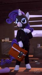 Size: 1080x1920   Tagged: safe, artist:owlpirate, rarity, semi-anthro, unicorn, 3d, bipedal, briefcase, cigarette, clothes, coffee mug, crossover, hoof hold, implied twilight sparkle, jar, jarate, knife, kukri, mask, mug, necktie, pee in container, rarispy, sfm pony, solo, spy, suit, team fortress 2, twilight sniper, urine