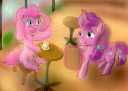 Size: 1024x724   Tagged: safe, artist:im_wizu, pinkie pie, sugar belle, unicorn, cafe, chair, cup, digital art, magic, my little pony cafe, smiling, table, teacup, waving