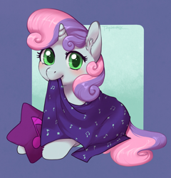 Size: 3356x3500 | Tagged: safe, artist:taytinabelle, sweetie belle, pony, unicorn, blanket, cute, diasweetes, ear fluff, female, filly, looking at you, mare, mouth hold, pillow, simple background, smiling, solo, unshorn fetlocks