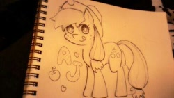 Size: 490x276 | Tagged: safe, artist:starvinghero, applejack, pencil drawing, sketch, solo, tongue out, traditional art