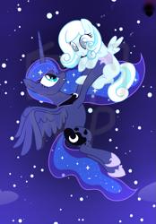 Size: 773x1113 | Tagged: safe, artist:whiteplumage233, princess luna, oc, oc:snowdrop, pony, holding a pony, night