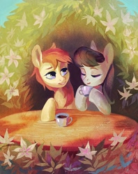 Size: 1626x2048 | Tagged: safe, artist:dearmary, octavia melody, oc, oc:kadae, earth pony, pony, cute, daaaaaaaaaaaw, earth pony oc, flower, foliage, food, leaves, table, tea