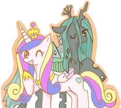 Size: 960x853 | Tagged: safe, artist:rai_ra, princess cadance, queen chrysalis, alicorn, changeling, changeling queen, ;d, crown, cute, cutealis, cutedance, female, jewelry, one eye closed, regalia, wink