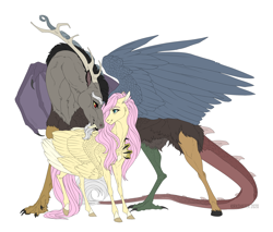 Size: 2000x1700 | Tagged: safe, artist:dementra369, discord, fluttershy, draconequus, pegasus, pony, cute, discoshy, eye contact, female, looking at each other, male, mare, shipping, simple background, smiling, straight, white background