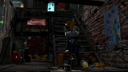 Size: 3840x2160 | Tagged: safe, artist:dj-chopin, rarity, oc, oc:littlepip, pony, unicorn, fallout equestria, 3d, alleyway, applejack daniel's, bug zapper, female, gun, high res, looking up, mare, party time mintals, poster, sad, sitting, solo, sparkle cola, stairs, statuette, weapon