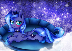 Size: 1118x797   Tagged: safe, artist:meqiopeach, princess luna, alicorn, pony, bed, big eyes, blushing, challenge, chest fluff, clothes, complex background, cute, dream, galaxy, jewelry, laying on bed, looking at you, lunabetes, moon, necklace, on bed, shiny, shoes, smiling, smiling at you, sofa bed, solo, stars