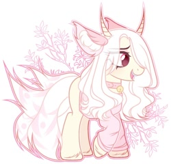 Size: 1024x982   Tagged: safe, artist:toffeelavender, oc, oc only, earth pony, original species, pony, base used, clothes, commission, eye clipping through hair, female, horns, mare, smiling, solo