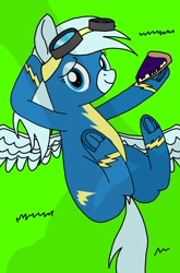 Size: 1440x2176 | Tagged: safe, artist:windy breeze, oc, oc:windy breeze, pegasus, pony, blueberry, cake, clothes, dock, food, frog (hoof), goggles, shadow, solo, spread wings, underhoof, uniform, wings, wonderbolts uniform