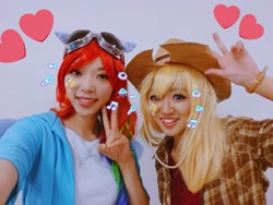 Size: 1024x768 | Tagged: artist needed, safe, artist:rai_ra, applejack, rainbow dash, human, clothes, cosplay, costume, goggles, irl, irl human, japan, japan ponycon, kotobukiya applejack, kotobukiya rainbow dash, peace sign, photo, pony ears, selfie, smiling