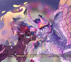 Size: 2064x1815 | Tagged: safe, artist:pegasus004, tempest shadow, twilight sparkle, alicorn, pony, unicorn, big horn, broken horn, cloven hooves, colored wings, colored wingtips, dappled, ethereal mane, facial markings, fangs, female, fluffy, horn, horn ring, jewelry, lesbian, necklace, redesign, ring, shipping, size difference, socks (coat marking), tempestlight, toothy grin, twilight sparkle (alicorn), unshorn fetlocks, wing claw, wing claws, wings