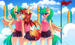 Size: 4555x2760 | Tagged: safe, artist:airiniblock, oc, oc only, oc:cloud skipper, oc:sky rider, oc:sundown, anthro, bat pony, pegasus, pony, angry, bat pony oc, bat wings, breasts, clothes, cloud, cloudsdale, commission, ear piercing, eye contact, flag, flag pole, frown, green eyes, green mane, green tail, gym shorts, hand on hip, looking at each other, nervous, open mouth, orange mane, orange tail, pegasus oc, piercing, pink eyes, rainbow waterfall, rcf community, red eyes, red flag, shirt, shorts, side slit, sky, sports shorts, sporty style, spread wings, t-shirt, tanktop, teal eyes, twins, unamused, wings