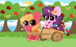 Size: 2100x1300 | Tagged: safe, artist:kittyrosie, big macintosh, sugar belle, earth pony, pony, unicorn, apple, apple tree, cart, cute, female, flower, flower in hair, male, mare, open mouth, riding, shipping, stallion, straight, straw in mouth, sugarmac, tree