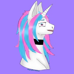 Size: 768x768   Tagged: safe, artist:starly_but, oc, oc only, pony, unicorn, bust, choker, female, horn, mare, open mouth, purple background, simple background, solo, unicorn oc