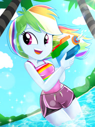 Size: 1800x2400 | Tagged: safe, artist:artmlpk, rainbow dash, equestria girls, adorable face, adorasexy, adorkable, beach, beautiful, blue skin, board shorts, clothes, cloud, cute, dashabetes, digital art, dork, female, hair, happy, light, looking over shoulder, multicolored hair, ocean, open mouth, outdoors, palm tree, pink eyes, plant, pool toy, rainbow hair, sand, sexy, shiny skin, shorts, side slit, sky, sleeveless, smiley face, smiling, smiling at you, solo, stupid sexy rainbow dash, sunflare, super soaker, swimsuit, tree, water, watergun, watermark