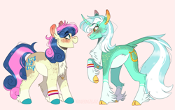 Size: 1213x768 | Tagged: safe, artist:wanderingpegasus, bon bon, lyra heartstrings, sweetie drops, classical unicorn, earth pony, pony, unicorn, alternate hairstyle, blushing, canon ship, chest fluff, cloven hooves, ear fluff, female, freckles, jewelry, leg fluff, leonine tail, lesbian, lesbian pride flag, looking at each other, lyrabon, mare, markings, married couple, necklace, open mouth, pale belly, pink background, pride, pride flag, raised hoof, redesign, ring, shipping, simple background, socks (coat marking), unshorn fetlocks, wedding ring, wristband