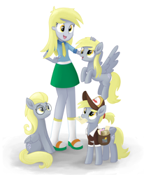 Size: 2800x3400 | Tagged: safe, artist:biocrine, idw, derpy hooves, pegasus, pony, equestria girls, reflections, the last problem, spoiler:comic, alternate hairstyle, bright eyes (mirror universe), cute, dark mirror universe, derpabetes, female, glasses, high res, human ponidox, mailmare, mare, mouth hold, multeity, older derpy hooves, open mouth, petting, self ponidox, simple background, sitting, smiling, white background