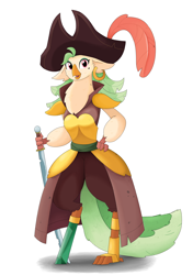Size: 2400x3400 | Tagged: safe, artist:biocrine, captain celaeno, parrot pirates, my little pony: the movie, female, hand on hip, hat, high res, looking at you, pirate, pirate hat, simple background, solo, sword, weapon, white background