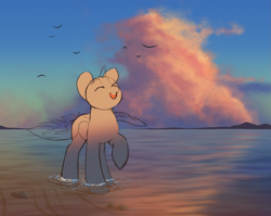 Size: 3179x2530 | Tagged: safe, artist:klooda, bird, pony, advertisement, beach, cloud, commission, cute, detailed, detailed background, eyes closed, female, full body, generic pony, happy, mare, ocean, one hoof raised, open mouth, raised hoof, reflection, sand, seaside, shore, sky, smiley face, smiling, solo, spread wings, sunset, water, wings, ych example, your character here