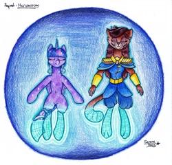 Size: 1920x1842 | Tagged: safe, cerena, twilight sparkle, abyssinian, alicorn, crystal pony, pony, code lyoko, crystal twilight, crystallized, teleportation, twilight sparkle (alicorn), virtualization, wireframe